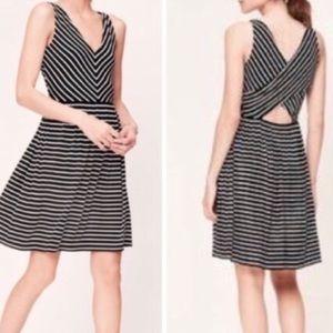 Loft Black and White Striped Cross Back Dress